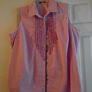 Lauren Ralph Lauren pink and white stripe blouse